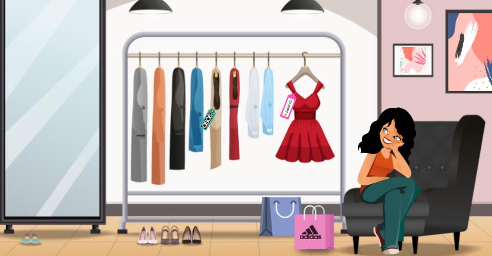 Une femme contemple son dressing remplis de ses derniers achats chez Asos, Zalando et Adidas.